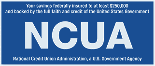 Your savings federally insured to at least $250,000 and backed by the full faith and credit of the United States Government. National Credit Union Administration, a U.S. Government Agency.